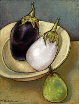 2eggplant and green pear