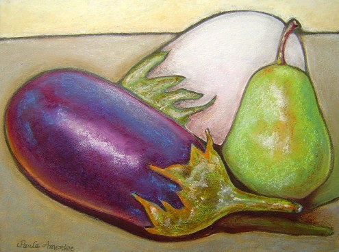 Eggplants with green pear