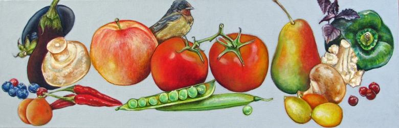Farmer%22s market produce with barn swallow